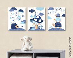 Lot de 3 illustrations pour chambre d'enfant garçon, décoration chambre bébé affiche poster, réf.31 bleu : Chambre d'enfant, de bébé par cashemir