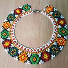 Traditional Ukrainian folk ethnic necklace for women Seed beaded necklace Handmade collar to vyshyvanka Geometric beaded choker in gift Diy Jewelry Necklace, Seed Bead Necklace, Seed Bead Jewelry, Beaded Jewelry, Ethnic Jewelry, Necklace Ideas, Beaded Necklaces, Necklace Tutorial, Mexican Jewelry