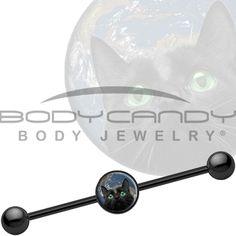 BodySparkle Body Jewelry 3 PC-Black Skull Arrow Industrial Barbell-Pitchfork Industrial Earring Set-14 gauge Steel Industrial Pack