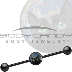 14 Gauge 37mm Black Cat World Takeover Industrial Barbell | Body Candy Body Jewelry