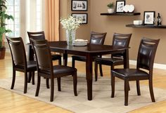 CM3024T Dining Table With 6 Chairs 7 Pc. Set  Woodside Collection CM3024T This complete dining set features a bold table with simple angles, padded leatherette chairs and a matching bench perfect for entertaining guests and family.• Transitional Style• Padded Leatherette Seat• Solid Wood, Wood Veneer