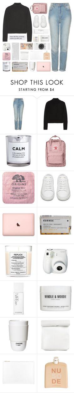 """theme tag: pastel"" by randomn3ss ❤ liked on Polyvore featuring Topshop, Autumn Cashmere, H&M, Fjällräven, Origins, Yves Saint Laurent, Korres, Maison Margiela, Fujifilm and NARS Cosmetics"