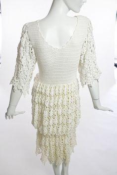 1980's Crochet Tiered Bottom Dress. Silk lining. |Manhattan Vintage Clothing Show