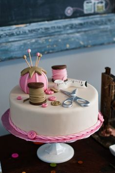 super cute sewing themed cake