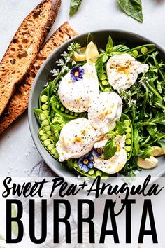 This Burrata Recipe with sweet pea puree & arugula can be served as an appetizer with crostini or as a salad. It's a delicious dish perfect for spring. // appetizers // how to serve burrata // burrata board Quick And Easy Appetizers, Easy Appetizer Recipes, Healthy Salad Recipes, Lunch Recipes, Dinner Recipes, Appetizer Ideas, Egg Recipes, Healthy Meals, Delicious Recipes