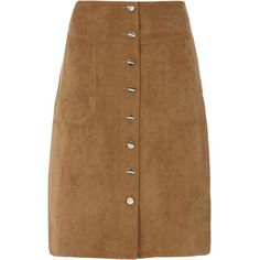Dorothy Perkins Tan Suedette Midi Skirt ($37) ❤ liked on Polyvore featuring skirts, brown, calf length skirts, button front skirt, tan midi skirt, dorothy perkins and brown midi skirt
