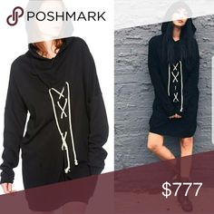 Coming 1st week of OCT! Soft oversized lace up front hooded sweatshirt dress . Tops Sweatshirts & Hoodies