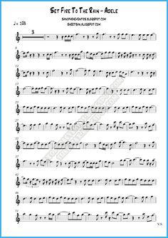 Pista y partitura Set Fire To The Rain de Adele gratis para tu instrumento | Partituras y pistas para saxo | Sheet and tracks for sax