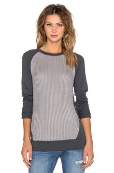 LA Made Pixie Ribbed Sweater in Charcoal & Heather Grey