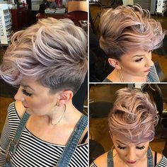 STYLIST FEATURE| Love this edgy #pixiecut styled by #CaliStylist @KatieZimbalisalon on @beautybylena916✂️ This icy-pink hair color is hot #voiceofhair