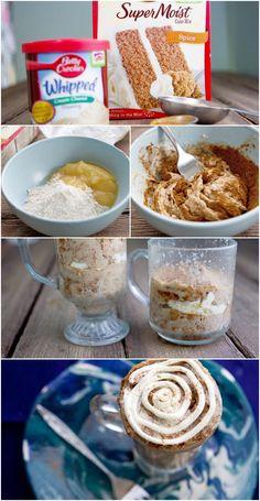 Microwave Cinnamon Roll Mug Cake #omg #bettycrocker