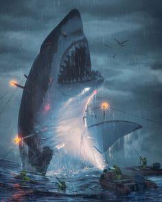 Big Shark, Shark Art, Dark Fantasy Art, Fantasy Artwork, Megalodon Shark, Fantasy Creatures, Sea Creatures, Shark Pictures, Dinosaurs