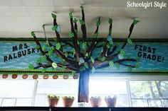 Learn how to make this amazing tree in your own classroom by Schoolgirl Style.  Stop by for classroom decor, bulletin board ideas, classroom organization, themes, and hundreds of classroom photos!  www.schoolgirlstyle.com