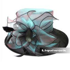 3b1abffe54a Designer Jewel Blue Organza Fashion Church Dress Derby Hats for Women  SKU-158534 Cool Hats