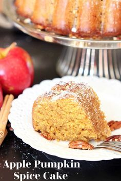 With all the wonderful Fall flavors going on right now, you're guaranteed to love this homemade Apple Pumpkin Spice Cake! Apples and pumpkin mixed with ground cinnamon, clove, and nutmeg topped with a creamy butter and spiced rum glaze, this bundt cake is guaranteed to be one of your families Fall favorites desserts! #spicecake #bundtcake #spicecakerecipe #recipesworthrepeating | recipesworthrepeating.com Libby's Pumpkin, Pumpkin Bundt Cake, Pumpkin Spice Cake, Pumpkin Dessert, Spice Cake Recipes, Dessert Recipes, Rum Glaze Recipe, My Best Recipe, Apple Butter