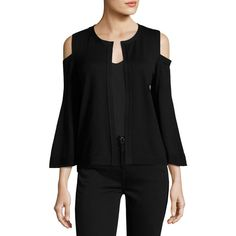 Kobi Halperin Julianne Cold-Shoulder Open-Front Cardigan (2,780 HKD) ❤ liked on Polyvore featuring tops, cardigans, black, cold shoulder cardigan, open cardigan, j.crew cardigan, bell sleeve tops and merino wool cardigan