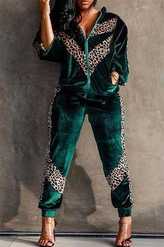 Euro Leopard Print Zipper Velvet Woman Co-Ords Cute Comfy Outfits, Sporty Outfits, Classy Outfits, Boho Outfits, Stylish Outfits, Fashion Outfits, Two Piece Pants Set, Axolotl, Velvet Fashion
