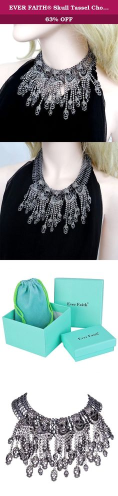 EVER FAITH® Skull Tassel Choker Bib Statement Necklace Austrian Crystal Black Vintage Style. You will look cool and fashion on this excellent necklace. Ever Faith As a company that concentrates on fashion jewelry, we already have about 10 years experience on fashion jewelry trend. We work magic on jewelry, keep on new designs and to a leader of beauty and style is our goal. We have over 5000 products and are good at sustaining innovations. Ever Faith's pieces are those that are bought…