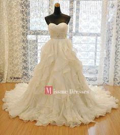 Plus Size White Ivory A-Line Bridal Gowns Women Cascading Ruffles Wedding Dress #Handmade #ALine #Formal