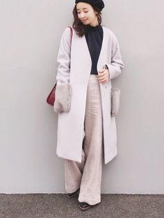 TONALさんのPRに参加しています(^ ^) ノーカラーのコートはファーポケットが豪華で大人な一枚