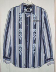 HARLEY-DAVIDSON-Striped-Cotton-Skulls-Embroidered-Long-Sleeve-Mens-Shirt-Size-L