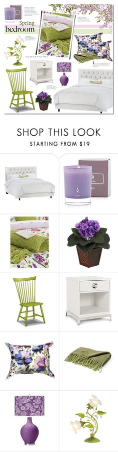 """Spring Florals-Bedroom"" by cly88 ❤ liked on Polyvore featuring interior, interiors, interior design, home, home decor, interior decorating, SANDERSON, Nearly Natural, Jonathan Adler and Dot & Bo"