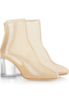Maison Martin Margiela|Leather-trimmed mesh and Perspex boots|NET-A-PORTER.COM
