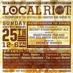 The Local Riot returns. Come to our celebration of the artisans and charities who inspired us. Admission is free and the event is dog friendly. All beer and food is sold a la carte. Must be 21. by flyingdogbrewery