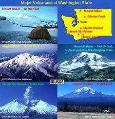Major Volcanoes of Washington State - Glacier Peak, Mount Adams, Mount Baker, Mount Rainier and Mount St. Stuff To Do, Things To Do, Washington Map, Evergreen State, Mount Rainier, Geology, Olympia, Volcanoes, Adventure