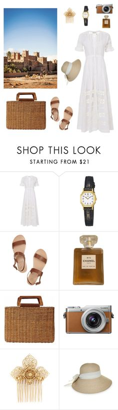 """Morocco: September 2017"" by isabellakoos ❤ liked on Polyvore featuring LoveShackFancy, Lorus, Ancient Greek Sandals, Chanel, Salvatore Ferragamo, Panasonic, Miriam Haskell and Nine West"