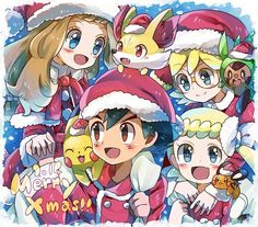 Ash Ketchum and Pikachu with their Kalos friends ^.^ ♡ #Amourshipping ^.^ ♡ I give good credit to whoever made this