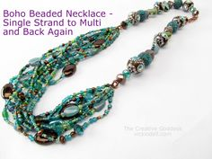 Boho Beaded Necklace - Video Tutorial -In this video I'll show you how I make a necklace that starts out as a single strand, goes into multiple strands and then back to a single strand.