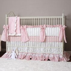 Make a regal statement in your baby's nursery with these Angelica Grace Crib Linens designed by Olena Boyko. Make it extra special by adding personalization to various pieces in the set. Baby Girl Crib Bedding, Custom Baby Bedding, Baby Crib Bedding Sets, Baby Cribs, Crib Sheets, Pink Bedding Set, Pink Crib, Baby Nursery Decor, Baby Decor
