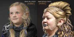 A dwarf girl and a dwarf woman.