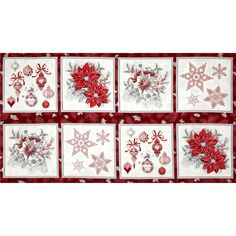 """Holiday Flourish Metallic Large Blocks Panel Silver from @fabricdotcom  Designed by Peggy Toole for Robert Kaufman, this cotton print fabric panel measures approximately 24"""" x 44"""". Each block is about 10"""" square. Colors include white, burgundy and grey. Features silver metallic accents throughout."""