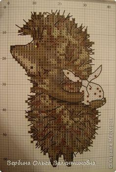 Картина панно рисунок Вышивка Ёжик с узелком по мультику Ёжик в тумане  Канва Нитки фото 3