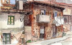 https://flic.kr/p/7SZt97 | Houses in Guardo | Sketch at open air. Watercolour and marker.