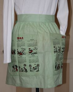 Vintage Kitchen Calendar Half Apron, 1962, Cartoon Graphic for Each Month by ilovevintagestuff on Etsy