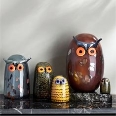 Iittala - Oiva Toikka Little Barn Owl - Yellow/Brown/Black Sculpture Projects, Bird Sculpture, Sculptures, Vivid Colors, Colours, Little Barn, Owl Family, Dream Furniture, Ceramic Birds