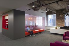 Inside Lithiums Collaborative San Francisco Headquarters. Millbrae Contract bench and lounge