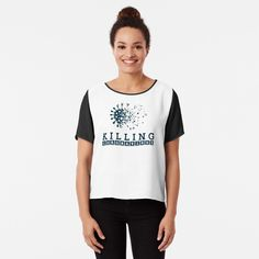 'Attempted-Murder crows T-shirt' Chiffon Top by Funny Graphic Tees, Vintage T-shirts, Tees For Women, Pullover, Floral Style, Mom Shirts, Retro, Chiffon Tops, Sleeveless Tops