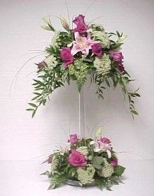Purple Flowers In Vase Shades Referral: 7667452642 Altar Flowers, Church Flowers, Funeral Flowers, Silk Flowers, Wedding Flowers, Purple Flowers, Exotic Flowers, Flowers Garden, Yellow Roses