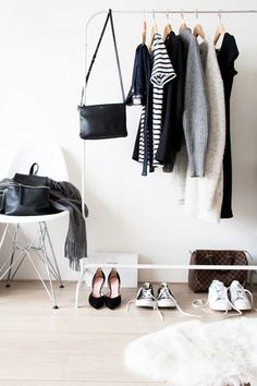 As soon as your wardrobe is finished, your shopping is complete too. The secret to a capsule wardrobe is that it's limited and thoughtfully curated. The expression capsule wardrobe was initia… My Wardrobe, Wardrobe Staples, Capsule Wardrobe, Wardrobe Rack, Simple Wardrobe, Wardrobe Ideas, Closet Racks, Wardrobe Clothing, Simple Closet