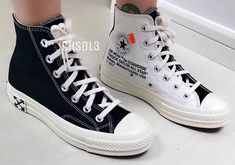 The Off-White x Converse Chuck Taylor In Black And White Emerge Converse Chuck Taylor Black, Off White Converse, White Converse Outfits, Converse Shoes, Narrow Shoes, Aesthetic Shoes, Hype Shoes, Fresh Shoes, Men With Street Style