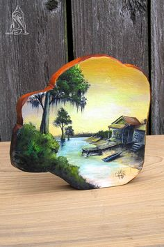 """Cypress Knee Round Hand Painted-""""Bayou Rest Stop"""" by SkintKnees on Etsy Cute Canvas Paintings, Wood Painting Art, Pebble Painting, Tole Painting, Wood Art, Cypress Knees, Painted Rocks, Hand Painted, Acrylic Painting Inspiration"""