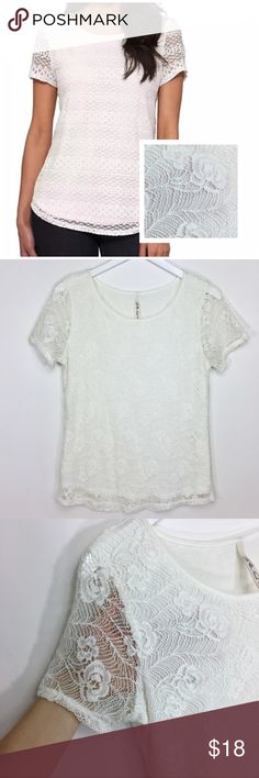 "Leo & Nicole White Floral Lace Crochet Blouse Top Description: Beautiful white Lace Blouse with lining.  Fit: True to Size  Size: Small  Measurements: Bust- 17"" Arm- 7"" Length- 24"" Material: see image please  Condition: Gently used without flaws   @sugarblooms Leo & Nicole Tops Blouses"