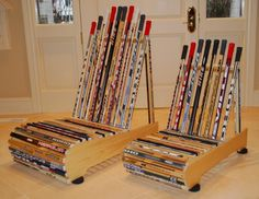 hockey stick chairs from Chair-Built Custom Woodworking...these chairs are awesome & only 1 of the many things he builds out of hockey sticks. he can no longer play hockey due to an accident that left his legs paralyzed, so now he uses hockey sticks to create unique furniture. this kid is truly an inspiration!