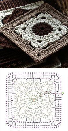 New crochet granny square motif ganchillo Ideas Mandala Au Crochet, Crochet Diy, Crochet Amigurumi, Chunky Crochet, Love Crochet, Crochet Motif, Crochet Stitches, Beautiful Crochet, Scarf Crochet
