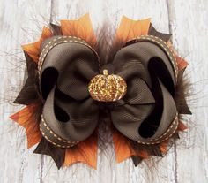 Pumpkin Bow Fall Bow Thanksgiving Bow Fluffy by darlindivas