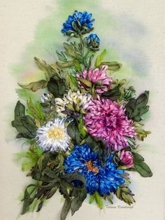 Embroidered picture Asters Silk ribbon by SilkRibbonembroidery
